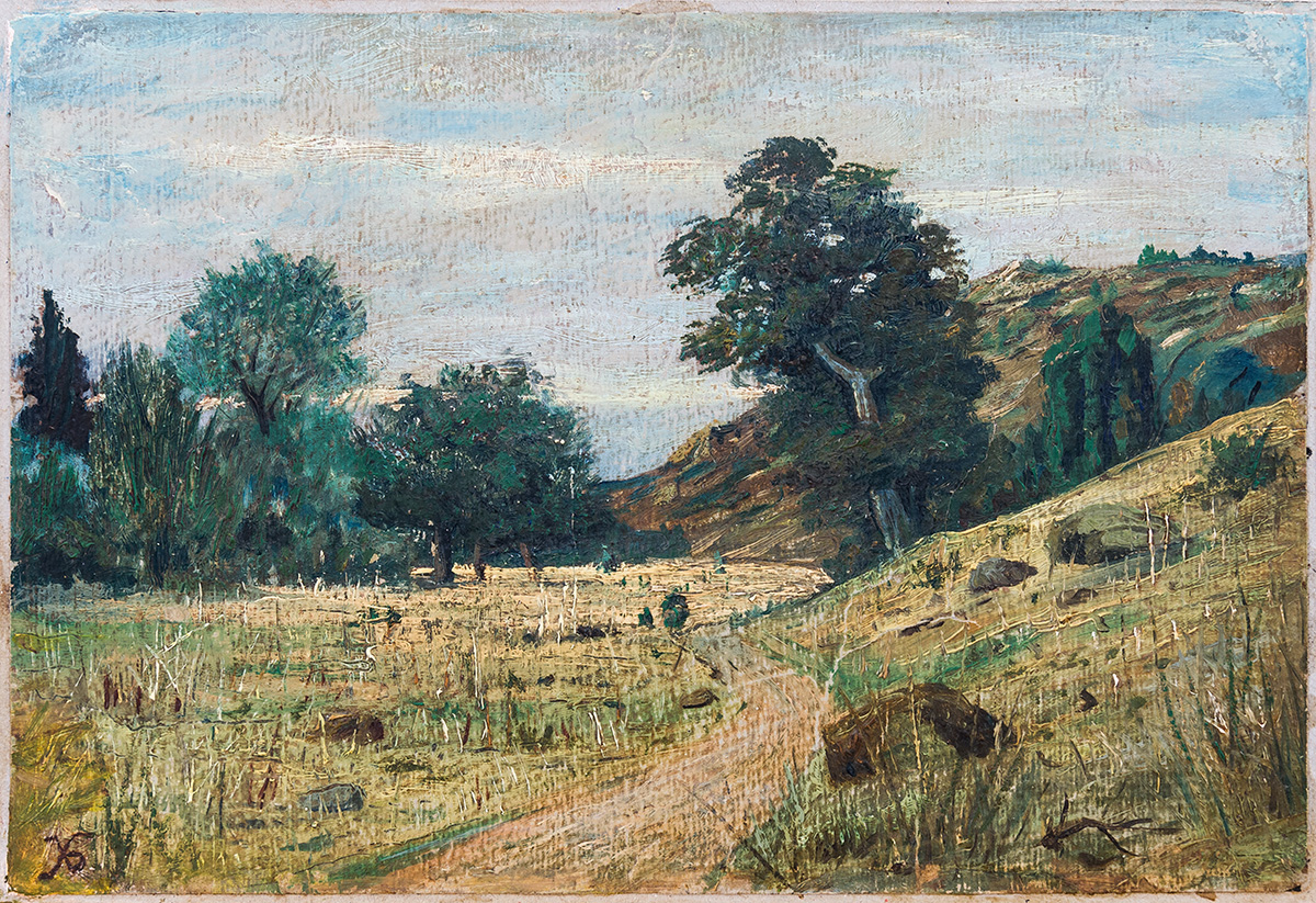 Пейзаж, маслени бои, картон, 22 х 33 см подпис долу ляво