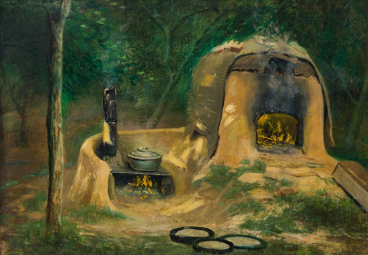 Огнище, ок. 1910 маслени бои, шперплат, 28 х 38,8 см