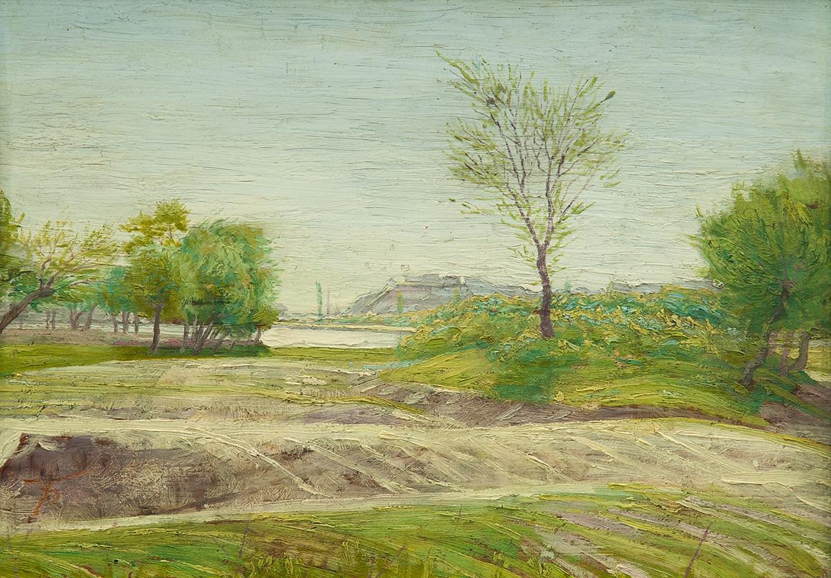 Пейзаж, 20-те г. на ХХ в. маслени бои, шперплат, 33,5 х 43,5 см подпис долу ляво