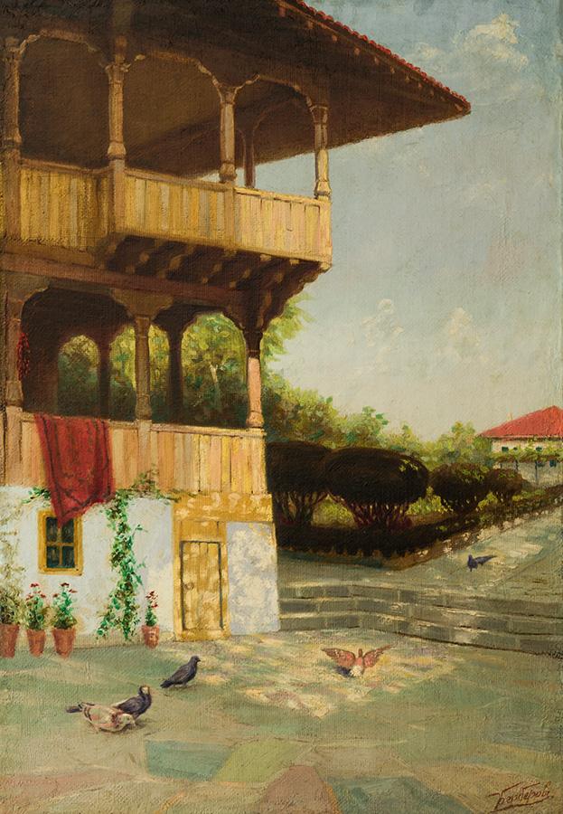 Къща в Елена, ок. 1910 маслени бои, платно, 85 х 58 см Подпис долу дясно